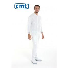 CMT Bezoekersjassen PE met drukknopen, kleur wit (doos 12 stuks)