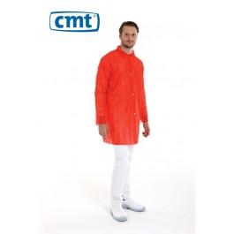 CMT Bezoekersjassen PP met drukknopen en mouwelastiek, kleur rood, maat M (doos 100 stuks)