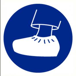 Pictogram schoenovertrek verplicht 200 mm (sticker)
