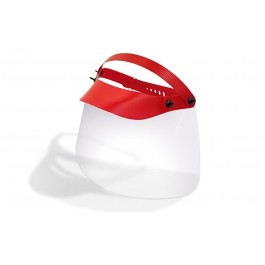 Covid-19 Gelaatsscherm, kleur rood met transparante kap