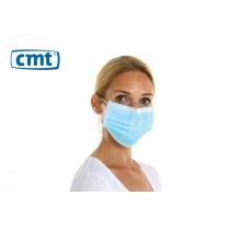 CMT Chirurgisch mondmaskers met oorelastiek, 3-laags, kleur blauw (dispenser 50 stuks)