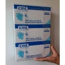CMT Acryl Wandhouder/Dispenser voor 3 doosjes onderzoekshandschoenen