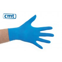 CMT Latex onderzoekshandschoenen gepoederd, kleur blauw (doos 10 x 100 stuks)