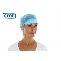 CMT Snood Caps/Pet met klep en haaropvang, kleur blauw, 50 cm (doos 10 x 100 stuks)