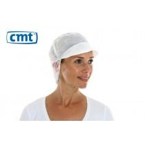 CMT Snood Caps/Pet met klep en haaropvang, PP, kleur wit, 50 cm (doos 10 x 100 stuks)