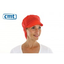 CMT Snood Caps/Pet met klep en haaropvang, kleur rood, 50 cm (doos 10 x 100 stuks)