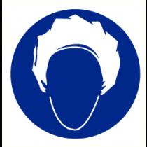 Pictogram haarnet verplicht 200 mm (sticker)