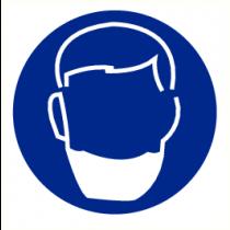 Pictogram baardmasker verplicht 200 mm (bord PP)
