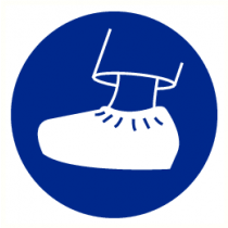Pictogram schoenovertrek verplicht 200 mm (sticker)
