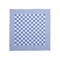Theedoek geblokt 70 x 70 cm, kleur blauw/wit (pak 10 stuks)