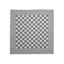 Theedoek geblokt 70 x 70 cm, 100% katoen dubbeldraads, kleur zwart/wit, pak 10 stuks
