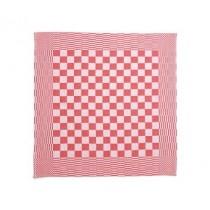 Theedoek geblokt 70 x 70 cm, kleur rood/wit (pak 10 stuks)