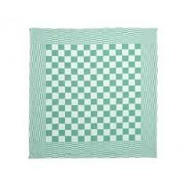 Theedoek geblokt 70 x 70 cm, kleur groen/wit (pak 10 stuks)