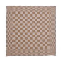 Theedoek geblokt 70 x 70 cm, kleur taupe/wit (pak 10 stuks)