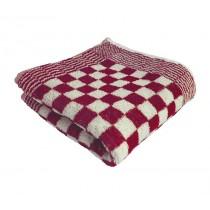Keukenhanddoek badstof geblokt 60 x 60 cm, kleur rood/wit (pak 10 stuks)