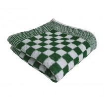 Keukenhanddoek badstof geblokt 50 x 50 cm, kleur groen/wit (pak 10 stuks)