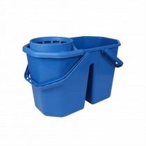Dubbele Spaanse Mopemmer 15 ltr met korf, kleur blauw