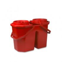 Dubbele Spaanse Mopemmer 15 ltr met korf, kleur rood