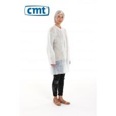 CMT Bezoekersjassen PP met drukknopen en mouwelastiek, kleur wit, maat L (doos 100 stuks)