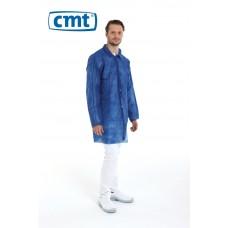 CMT Bezoekersjassen PP met drukknopen en mouwelastiek, kleur blauw, maat M (doos 100 stuks)