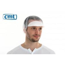 Haarnetjes met klep Peaked Bouffant Caps, kleur wit, maat universeel (doos 10 x 100 stuks)