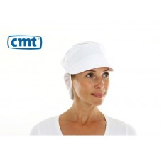 CMT Snood Caps/Pet met klep en haaropvang, PolyCotton/Polyester kroon, kleur wit, 53 cm (zak 10 stuks)