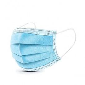 Cleen Civiele Mondkapjes/Mondmaskers type I, 3-laags met oorelastiek, kleur blauw (dispenserdoos 50 stuks)