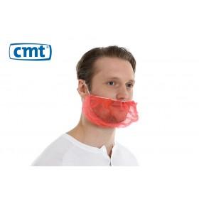 Baardmaskers met hoofdelastiek non-woven, kleur rood (doos 10 x 100 stuks)
