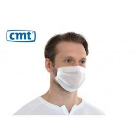 CMT Papieren mondmaskers met oorelastiek, 1-laags, kleur wit (dispenserdoos 100 stuks)
