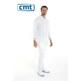 CMT Bezoekersjassen PE met drukknopen, kleur wit, maat universeel (doos 12 stuks)