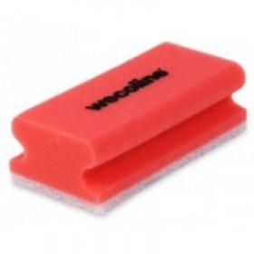 Wecoline Schuursponzen met handgreep, kleur rood/wit (pak 10 stuks)